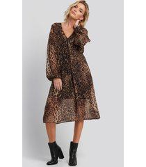 na-kd boho leo drawstring dress - brown