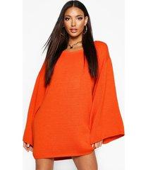 oversized trui jurk met wijde mouwen, gebrand oranje