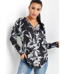 cremallera con estampado floral al azar en negro diseño blusa con dobladillo curvo y mangas largas con cuello en v