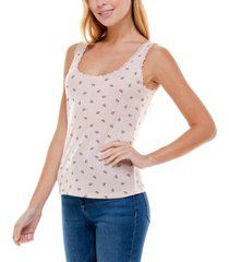 ultra flirt juniors' printed lace-trimmed pointelle tank top