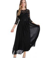 vestido fiesta encaje largo negro nicopoly