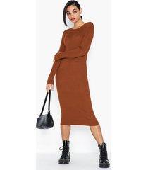 vila vibolonia knit l/s midi rib dress fodralklänningar