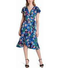 tahari asl printed v-neck faux-wrap dress