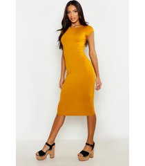 cap sleeve jersey bodycon midi dress, mustard