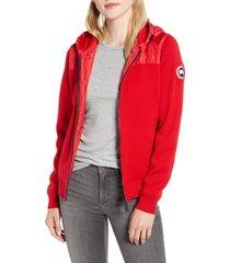 women's canada goose windbridge hooded sweater jacket, size x-small (2) - red