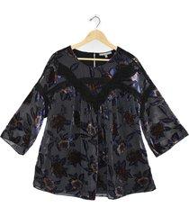 plus size women's daniel rainn velvet burnout lace inset blouse, size 3x - black