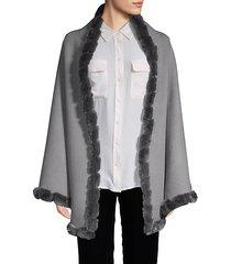 reversible dyed rex rabbit fur-trim shawl