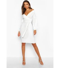 tall off the shoulder wrap midi bodycon dress, ivory