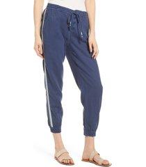 women's faherty side stripe cotton & linen beach jogger pants