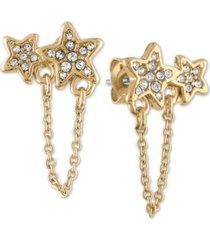rachel rachel roy gold-tone pave double star & chain stud earrings