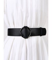 solid round ring buckle belt