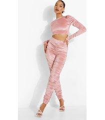 geplooide velours crop top en leggings, dusky pink