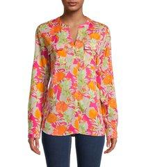 calvin klein women's bright floral blouse - hibiscus combo - size xs