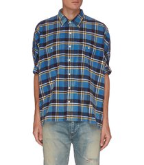 oversized plaid print shirt
