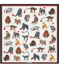 burberry small monkey print scarf - white