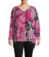 chenault women's plus floral & paisley-print top - black red - size 2x (18-20)