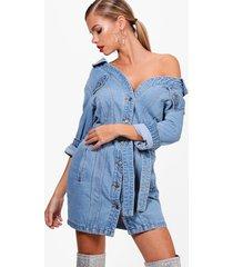 off the shoulder denim shirt dress, light blue