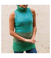 100% alpaca sweater vest, 'turquoise wonder' (peru)