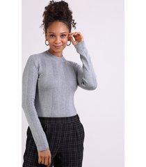 blusa feminina básica em tricô manga longa cinza mescla