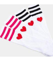 angie heart tube socks set - white