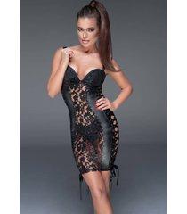 noir handmade mini-jurkje met zacht gebloemd kant