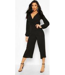 wrap front blouson sleeve wide leg jumpsuit, black