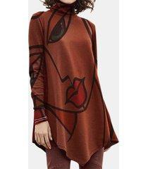 stampa artistica manica lunga alta collo plus camicetta taglia per donna