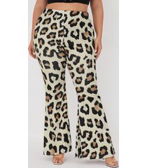 leopardo con correa elástica marrón de talla grande pantalones