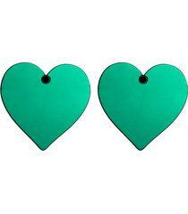aretes grandes corazón acrílico verde amme