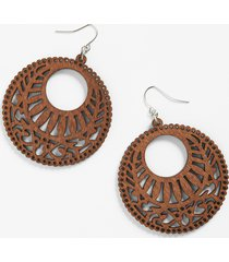 maurices womens oversized wood cut out circle earrings brown