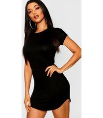basic curved hem t-shirt dress, black