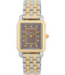 deco ii diamond two-tone stainless steel bracelet watch