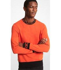 mk pullover in misto cotone con fettuccia con logo - optic orange - michael kors