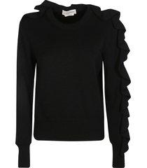 alexander mcqueen ruffle sleeved knit sweater