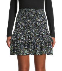 allison new york women's floral smocked a-line skirt - blue floral - size s