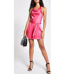 river island womens pink cowl halter neck satin playsuit