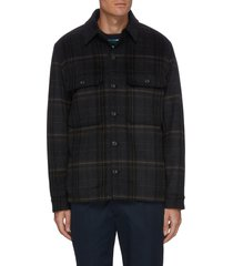 plaid sherpa inner layer wool blend jacket