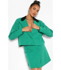 contrast collar double breasted crop blazer, green