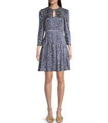 rebecca taylor women's autumn bloom long-sleeve dress - navy combo - size 4