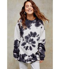 premium leisure black and white tie dye sweatshirt dress - monochrome