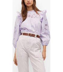 mango lace panel cotton blouse