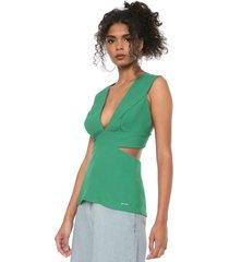 blusa colcci cut out verde