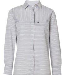 camisa dudalina manga longa tricoline fio tinto bolsos feminina (listrado, 46)