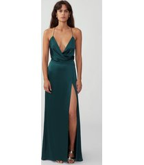 dark forest draped split gown