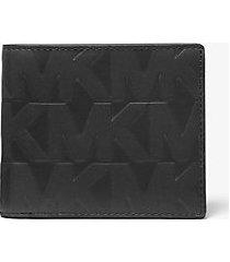mk portafoglio a libro hudson in pelle goffrata - nero (nero) - michael kors
