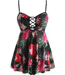 lace up open back floral leaves tankini swimwear