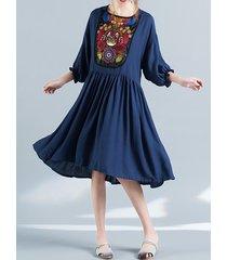 vestito da donna delle donne del manicotto 3/4 di o-collo ricamato di stile folcloristico