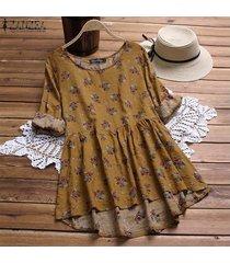 zanzea ocasional de las mujeres más el tamaño de la blusa del algodón camisa de la vendimia de boho superior floral -amarillo
