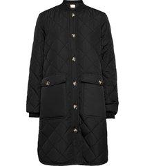 sreileen ls quilt coat gevoerde lange jas zwart soft rebels