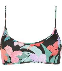 amir slama print hibiscus sport top - black